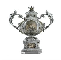 AN IMPORTANT ITALIAN SILVER AND DAMASCENED IRON VASE