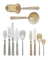 A FRENCH SILVER-GILT AND MOTHER-OF-PEARL TABLE SERVICE