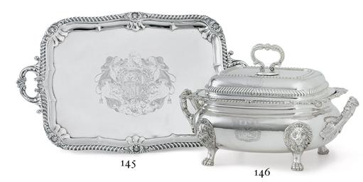 A GEORGE IV SILVER TEA TRAY