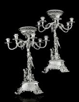 A PAIR OF FINE WILLIAM IV/VICTORIAN SILVER SIX-LIGHT CANDELABRA