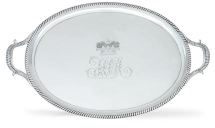 A REGENCY SILVER TEA TRAY