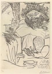 Bacchus et Femme de Profil (B.