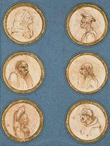 Six têtes de grotesques, d'après Léonard de Vinci