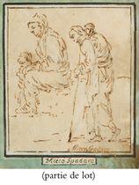 Un homme portant un enfant sur son dos et une femme assise avec un enfant