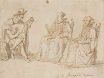 Deux femmes assises écoutant un joueur de luth