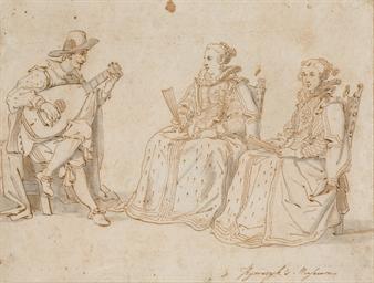 Deux femmes assises écoutant u