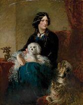 Portrait de Lady Alfred Paget aves son chien maltais sur les genoux