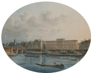 Péniches sur la Seine à la hau