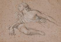 Jeune homme drapé en buste, étude subsidiaire d'une jambe