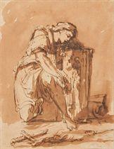 Femme éplorée au pied d'un prie-dieu