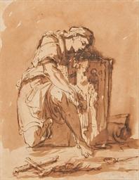 Femme éplorée au pied d'un pri