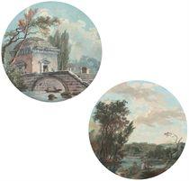 Un temple recouvert d'un dôme et des personnages dans une barque sous un pont de pierre; et Des personnages sur les berges d'une rivière dans un paysage arboré