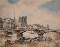 Vue du pont Louis-Philippe à Paris avec la cathédrale Notre-Dame à l'arrière-plan