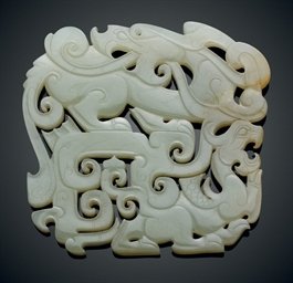 A CELADON JADE DRAGON PLAQUE