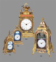 A CHINESE BRASS MINIATURE STRIKING TABLE CLOCK WITH DUPLEX E