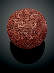 A LARGE LACQUER 'NINE DRAGON'