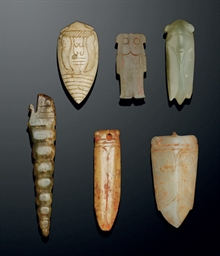 FIVE JADE 'CICADA' PENDANTS; A