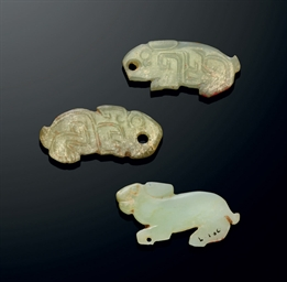 THREE JADE 'RABBIT' PENDANTS