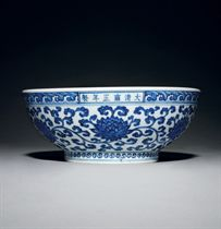 A LARGE BLUE AND WHITE MING-STYLE 'DICE' BOWL