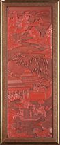 A FINELY CARVED CINNABAR LACQUER PANEL