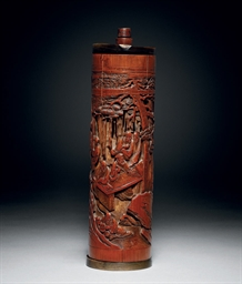 A WELL-CARVED BAMBOO INCENSE-H