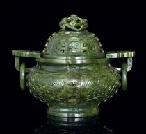 A WELL-CARVED SPINACH-GREEN JADE CENSER AND COVER