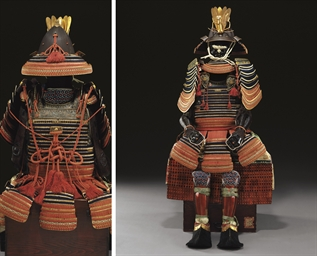 red-and-blue-laced gold-lacquered <i>honkozane nimai do gusoku</i> armor