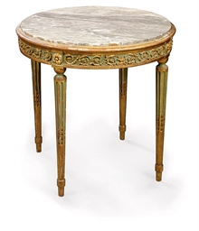 A FRENCH PARCEL-GILT, GREEN-PA