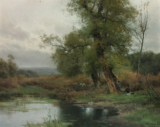 Shepherds resting by a pond