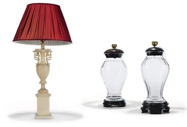 AN ITALIAN ALABASTER URN LAMP