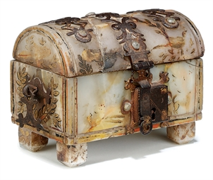 A SPANISH IRON-MOUNTED PARCEL-