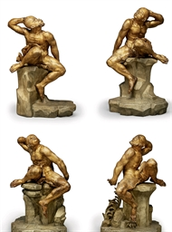 A SET OF FOUR GILTWOOD FIGURES
