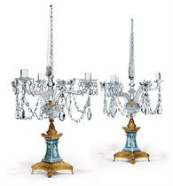 A PAIR OF GEORGE III ORMOLU, CUT-GLASS AND WEDGWOOD JASPERWARE THREE-LIGHT CANDELABRA