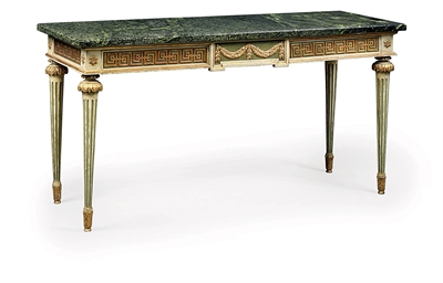A FRENCH PARCEL-GILT, GREEN AN