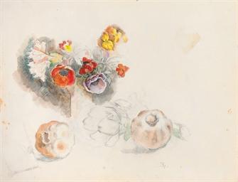 Nature morte, fleurs, grenades