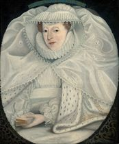 Portrait of Mary I, Queen of Scots (1542-1587), half-length, in a white dress, ruff and lace cap, with an ermine cloak, a bible in her left hand, in a feigned oval