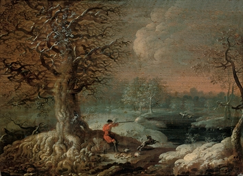 A frozen winter landscape with