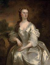 Portrait of Lady Georgina Spencer (d.1780), later Countess Cowper, three-quarter-length, in a white satin dress, by a plinth, an extensive landscape beyond