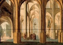 A church interior with Alexander the Great cutting the Gordian Knot