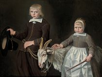 Double portrait of children, three-quarter-length, with a goat