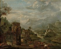 An extensive river landscape with merchants unloading their cargo on a quay, mountains beyond