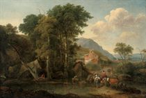A wooded river landscape with travellers at rest on a track, a herdsman and his cattle watering, mountains beyond