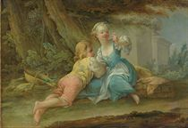 A young boy and girl admiring a butterfly in a classical garden