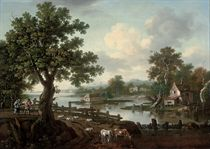 An extensive wooded river landscape with drovers and their animals on a track, cottages beyond