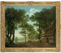 A wooded river landscape, thought to be on the Wye, a traveller and his mule by a cottage