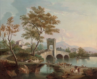 An Italiante landscape with dr