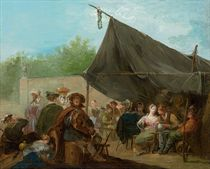 An outdoor banquet, with a hurdy-gurdy player