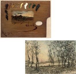A palette depicting a landscap