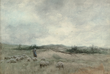 A shepherdess tending to her f