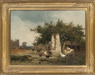 Chickens by a well